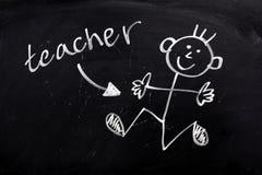 Ευτυχής δάσκαλος σε έναν πίνακα στοκ εικόνες