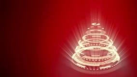 Τυποποιημένο παράξενο χριστουγεννιάτικο δέντρο, κόκκινο υπόβαθρο που αποτελείται από τις κίτρινες μηχανικές σπειροειδείς ρόδες απεικόνιση αποθεμάτων