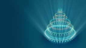 Τυποποιημένο παράξενο χριστουγεννιάτικο δέντρο, μπλε υπόβαθρο που αποτελείται από τις κίτρινες μηχανικές σπειροειδείς ρόδες ελεύθερη απεικόνιση δικαιώματος