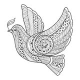 Τυποποιημένο περιστέρι Zentangle με τον κλάδο Στοκ Εικόνα