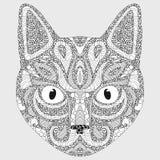 Τυποποιημένο πορτρέτο μιας γάτας Ο επικεφαλής μιας γάτας γραμμική τέχνη Διακοσμητικό πορτρέτο πρόβατα σκοπών κατοικίδιων ζώων φρο Στοκ φωτογραφία με δικαίωμα ελεύθερης χρήσης