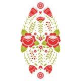 Τυποποιημένο σχέδιο, λαϊκή τέχνη, floral διακόσμηση στα κόκκινα και πράσινα χρώματα Συμμετρικό διανυσματικό υπόβαθρο σχεδίων Κόκκ απεικόνιση αποθεμάτων