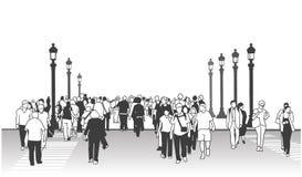 Τυποποιημένο σχέδιο των ανθρώπων που διασχίζουν την οδό στην προοπτική με τους ευρωπαϊκούς λαμπτήρες οδών Στοκ Φωτογραφία