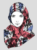 Τυποποιημένο σχέδιο του μουσουλμανικού θηλυκού φορώντας μαντίλι Στοκ φωτογραφίες με δικαίωμα ελεύθερης χρήσης