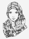 Τυποποιημένο σχέδιο του μουσουλμανικού θηλυκού φορώντας μαντίλι Στοκ Εικόνες