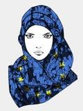 Τυποποιημένο σχέδιο του μουσουλμανικού θηλυκού φορώντας μαντίλι Στοκ Φωτογραφία