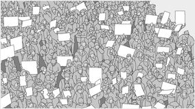 Τυποποιημένο σχέδιο του πλήθους που διαμαρτύρεται ενάντια στην παγκόσμια αύξηση της θερμοκρασίας λόγω του φαινομένου του θερμοκηπ Στοκ Φωτογραφίες