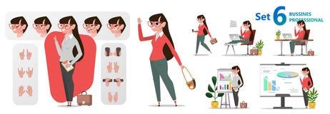 Τυποποιημένο σύνολο χαρακτήρων για τη ζωτικότητα Επαγγέλματα γραφείων γυναικών διανυσματική απεικόνιση