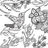 Τυποποιημένο τροπικό πουλί Zentangle στον κήπο λουλουδιών Στοκ Εικόνα