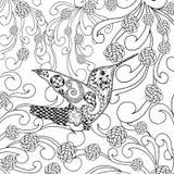 Τυποποιημένο τροπικό πουλί Zentangle στον κήπο λουλουδιών Στοκ Εικόνες