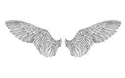 Τυποποιημένο φτερό Zentangle Σκίτσο για τη δερματοστιξία ή την μπλούζα Στοκ Φωτογραφία