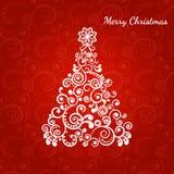 Τυποποιημένο χριστουγεννιάτικο δέντρο, η διακόσμηση μπουκλών Στοκ εικόνα με δικαίωμα ελεύθερης χρήσης