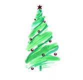 Τυποποιημένο χριστουγεννιάτικο δέντρο με τις ζωηρόχρωμες διακοσμήσεις Στοκ Φωτογραφία