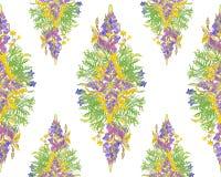 Τυποποιημένο floral άνευ ραφής σχέδιο πλαισίων - ανθοδέσμη για την πρόσκληση Στοκ Εικόνες