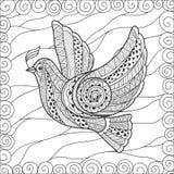 Τυποποιημένο floral περιστέρι Zentangle για την ημέρα ειρήνης Στοκ φωτογραφία με δικαίωμα ελεύθερης χρήσης
