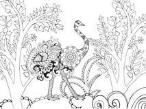 Τυποποιημένο ostrish Zentangle στον κήπο φαντασίας Στοκ Εικόνες