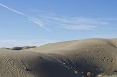 Τυπωμένες ύλες ποδιών στους κυλώντας αμμόλοφους άμμου στοκ εικόνες με δικαίωμα ελεύθερης χρήσης