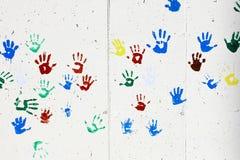 Τυπωμένες ύλες χεριών παιδιών Στοκ Φωτογραφίες