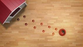 Τυπωμένες ύλες ποδιών σκυλιών απόθεμα βίντεο
