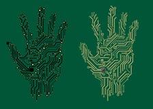 Τυπωμένες ύλες χεριών με τους ηλεκτρικούς πίνακες κυκλωμάτων Στοκ εικόνα με δικαίωμα ελεύθερης χρήσης
