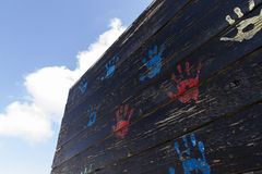 Τυπωμένες ύλες χεριών παιδιών Στοκ φωτογραφίες με δικαίωμα ελεύθερης χρήσης