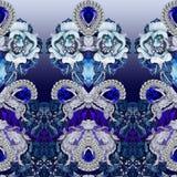 Τυπωμένη ύλη κοσμήματος με τις πέτρες, τα διαμάντια, τα κρύσταλλα, τα λουλούδια, το σάπφειρο και τα κοσμήματα στοκ εικόνες με δικαίωμα ελεύθερης χρήσης