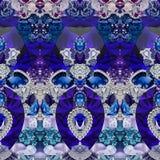 Τυπωμένη ύλη ντεκόρ με τη γεωμετρία, τις πέτρες, τα διαμάντια, τα κρύσταλλα, τα λουλούδια, το σάπφειρο και τα κοσμήματα ελεύθερη απεικόνιση δικαιώματος