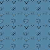 Τυπωμένη ύλη ποδιών σκυλιών στο άνευ ραφής σχέδιο καρδιών και panda Ίχνη γατών υφαντικού γραμμών σχεδίου panda καρδιών μαύρου Ίχν απεικόνιση αποθεμάτων