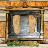 Τυπωμένη ύλη ποδιών του Ιησού μέσω Appia Στοκ Εικόνα