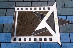 Τυπωμένη ύλη φοινικών του αεριωθούμενου λι στη λεωφόρο των αστεριών, περίπατος Hollywood της φήμης στοκ φωτογραφίες