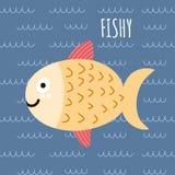 Τυπωμένη ύλη με χαριτωμένα ψάρια και ένα κείμενο Fishy Στοκ Φωτογραφία