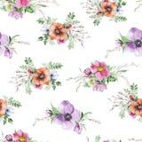 Τυπωμένη ύλη λουλουδιών Watercolor Στοκ Εικόνες