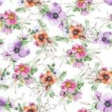 Τυπωμένη ύλη λουλουδιών Watercolor Στοκ Φωτογραφία