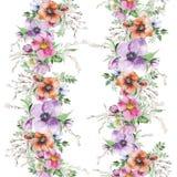 Τυπωμένη ύλη λουλουδιών Watercolor Στοκ φωτογραφία με δικαίωμα ελεύθερης χρήσης