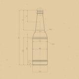 Τυπωμένη ύλη του μπουκαλιού μπύρας Στοκ Εικόνες