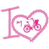 Τυπωμένη ύλη του ποδηλάτου αγάπης Ι φιαγμένου από διαδρομή ροδών Στοκ φωτογραφία με δικαίωμα ελεύθερης χρήσης