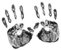 Τυπωμένη ύλη των πραγματικών χεριών Στοκ Εικόνα