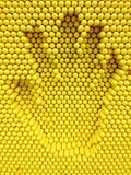 Τυπωμένη ύλη χεριών στο κίτρινο υπόβαθρο παιχνιδιών καρφιτσών Στοκ φωτογραφία με δικαίωμα ελεύθερης χρήσης