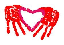 Τυπωμένη ύλη χεριών της αγάπης Στοκ Εικόνα