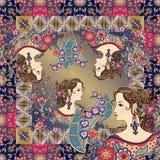 Τυπωμένη ύλη Bandana με τα όμορφα πορτρέτα γυναικών και τη floral διακόσμηση Στοκ Φωτογραφίες