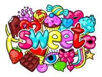 Τυπωμένη ύλη Kawaii με τα γλυκά και τις καραμέλες Τρελλή γλυκός-ουσία στο ύφος κινούμενων σχεδίων διανυσματική απεικόνιση