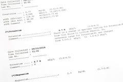 Τυπωμένο έγγραφο αποτελέσματος του καλίου, επίπεδα μαγνήσιου στο αίμα Λα Στοκ φωτογραφία με δικαίωμα ελεύθερης χρήσης
