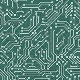 Τυπωμένο κυκλωμάτων άνευ ραφής σχέδιο τεχνολογίας υπολογιστών πινάκων πράσινο και άσπρο, διάνυσμα Στοκ φωτογραφία με δικαίωμα ελεύθερης χρήσης