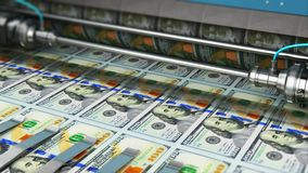 Τυπώνοντας τραπεζογραμμάτια χρημάτων Δολ ΗΠΑ 100 αμερικανικών δολαρίων απεικόνιση αποθεμάτων