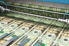 Τυπώνοντας τραπεζογραμμάτια χρημάτων Δολ ΗΠΑ 20 αμερικανικών δολαρίων ελεύθερη απεικόνιση δικαιώματος