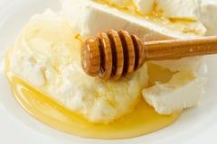Τυρί εξοχικών σπιτιών γάλακτος με το μέλι Στοκ φωτογραφία με δικαίωμα ελεύθερης χρήσης