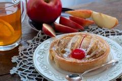 Τυρί εξοχικών σπιτιών επιδορπίων και ψημένα κομμάτια της Apple Στοκ Εικόνες