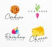Τυρί ετικετών Watercolor Στοκ Εικόνα