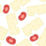 Τυρί και διανυσματικό άνευ ραφής σχέδιο ντοματών Στοκ Εικόνες