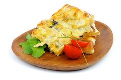 Τυρί και πίτα πρασίνων στοκ φωτογραφίες